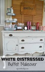 white distressed buffet themed furniture makeover my creative days