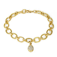 gold link bracelet with diamonds images Gold link bracelet with pave diamond oval charm peridot fine jewelry jpg