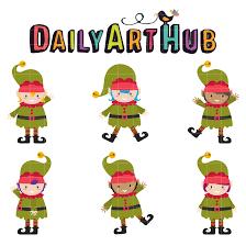 christmas elf clip art set daily art hub