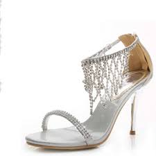 wedding shoes rhinestones gorgeous open toe silver rhinestone wedding evening sandals shoes
