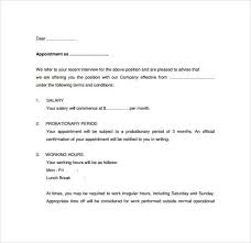 Confirmation Of Appointment Letter Sample 8 Free Appointment Letters Templates Samples