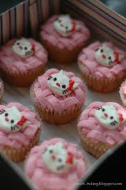 i heart baking fresh strawberry hello kitty cupcakes