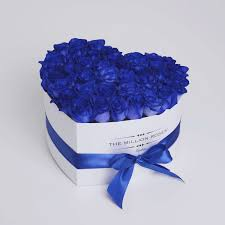 blue roses heart blue roses white box the million roses london