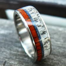 deer antler wedding band titanium wood deer antler ring with blue crushed northernroyal