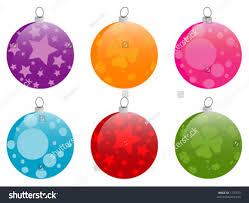 collection 6 shiny chrismas baubles completely stock vector