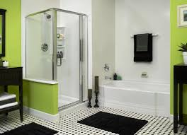 chic small restroom decoration ideas with dark wall mounted shelf