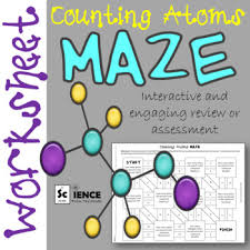 counting atoms in chemical formulas maze worksheet for review or
