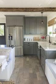 Gray And White Kitchen Cabinets Butcher Block Island Quartz Countertops Light Gray Cabinets