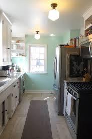galley kitchen 1940s quartz renovation sherwin williams