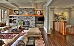craftsman great room with hardwood floors by shuler architecture