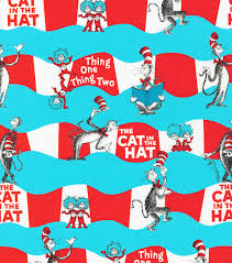 dr seuss wrapping paper dr suess cat in the hat cotton fabric 44 wave stripe joann
