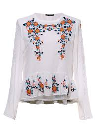 floral chiffon blouse white neck embroidered floral chiffon blouse metisu