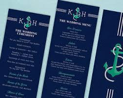 nautical wedding programs nautical calligraphy etsy