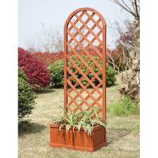convenience concepts fir wood planter box with trellis u0026 reviews
