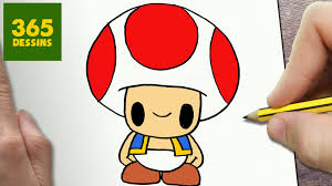 COMMENT DESSINER TOAD KAWAII ÉTAPE PAR ÉTAPE  Dessins kawaii facile