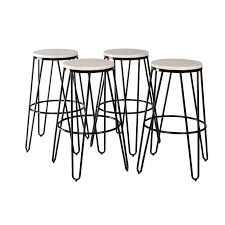 carbon loft hall backless two tone wood and metal bar stools set