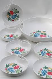 vintage fruit print melmac salad bowls set retro lenox ware