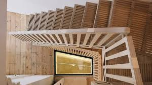 house stairs tsuruta architects designs staircase from hundreds of plywood pieces