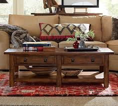 benchwright rectangular coffee table rustic mahogany pottery barn