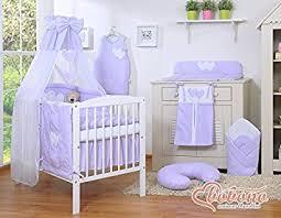 Cot Bed Canopy Baby Nursery Lilac Purple U0026 White Little Polka Dot 11pcs Bedding
