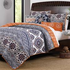 Quilted Bedspread King Boho Chic Moroccan Paisley Pattern Grey Orange Cotton 3 Piece King