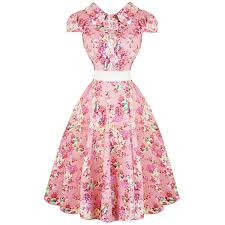 vintage dresses hearts roses london pink floral chintz 1950s vintage retro flared