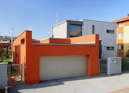 contemporary house design in rectangular three blocks structure