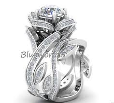 lotus flower engagement ring 3 20ct white moissanite lotus flower engagement ring set