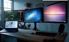 Three Monitor Desk Amazon Com Ezm Deluxe Triple Monitor Mount Stand Desktop Clamp