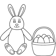 easter bunny sitting and basket of eggs coloring page easter