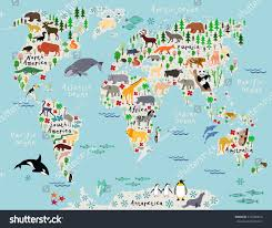 Maps Of The World Com by Animal Map World Children Kids Stock Vector 210789814 Shutterstock