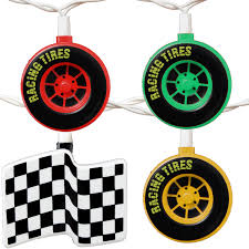 Awning Globe Lights For Camper by Racing Tires U0026 Checkered Flags String Lights