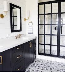 Frame Shower Door Black And White Bathroom With Cement Tile Steel Frame