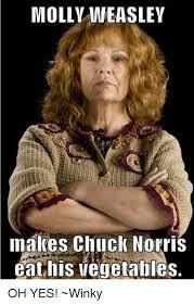 Chuck Norris Beard Meme - molly weasley nakes chuck norris eat his vegetables oh yes winky