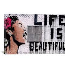 2017 life is beautiful banksy canvas painting wall pictures for