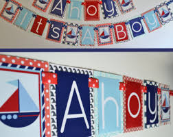 Nautical Themed Baby Shower Banner - ahoy it u0027s a boy nautical baby shower decorations banner
