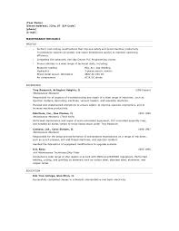 Resume Sample Format No Experience by Resume Template Automotive Mechanic Format Auto Sample No