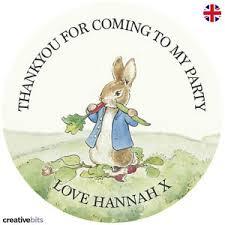 rabbit birthday 24 personalised rabbit birthday party stickers thankyou