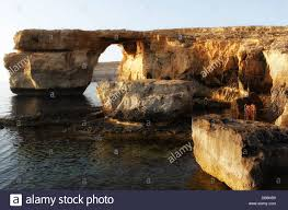 view of the natural arch high rock formation azure window in