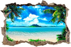 stickers trompe oeil mural trou plage des caraïbes