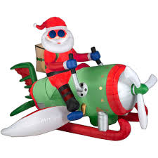 halloween blow ups clearance 6 5 u0027 animated airblown santa on flying machine with lights kmart