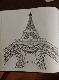drawn eiffel tower 3d art pencil and in color drawn eiffel tower