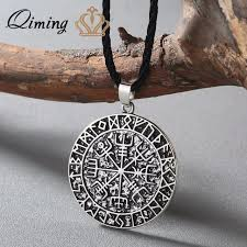 man charm necklace images Qiming viking jewelry antique silver vegvisir charm necklace jpg