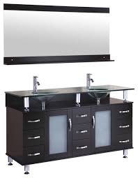 Bathroom Vanities With Glass Tops Vanity Cabinet With Double Sink Glass Top And Mirror