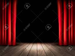 Theater Drop Curtain Theater Stage With Wooden Floor And Red Curtains Vector Royalty