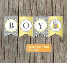 baby shower banner diy yellow grey baby shower banner owl by bumpandbeyonddesigns on zibbet