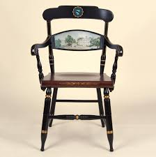Leather Captains Chairs Hand Painted University Of North Carolina Campus Chair By Hitchcock