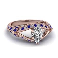 antique engagement ring settings 18k rose gold pear shaped blue sapphire vintage engagement rings
