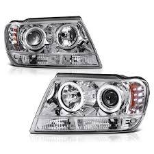 jeep headlights halo 99 04 jeep grand cherokee dual halo led projector headlights chrome