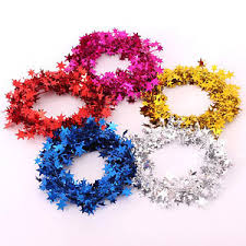 tinsel garland christmas decoration 7 5 metre wire tinsel garland with mini